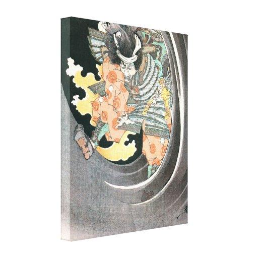 Vieja pintura del samurai lienzo envuelto para galerías