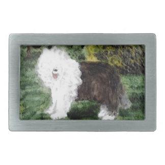 Vieja pintura inglesa del perro pastor hebillas de cinturón rectangulares
