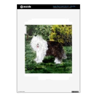 Vieja pintura inglesa del perro pastor iPad 3 pegatinas skins