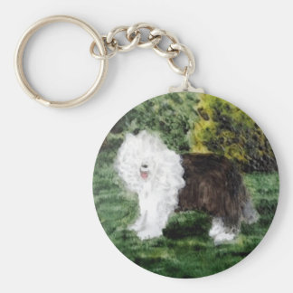 Vieja pintura inglesa del perro pastor llavero redondo tipo pin
