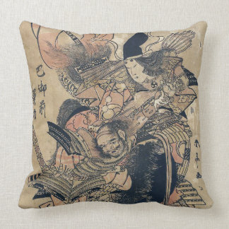 Vieja pintura japonesa de Ukiyo-e de dos samurais Cojín