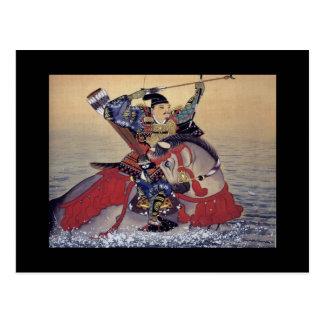 Vieja pintura japonesa de un samurai tarjeta postal
