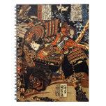 Vieja pintura japonesa del samurai que lucha c.180 libreta espiral