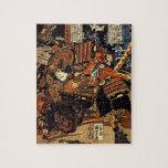 Vieja pintura japonesa del samurai que lucha c.180 puzzles con fotos