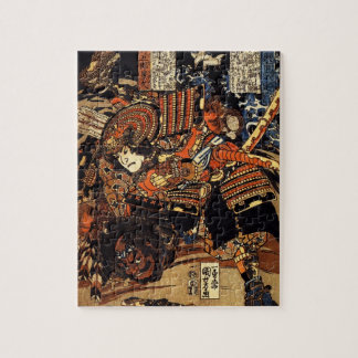 Vieja pintura japonesa del samurai que lucha c 180 puzzles con fotos