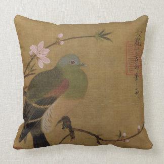 Vieja pintura japonesa del vintage de un pájaro sa almohadas