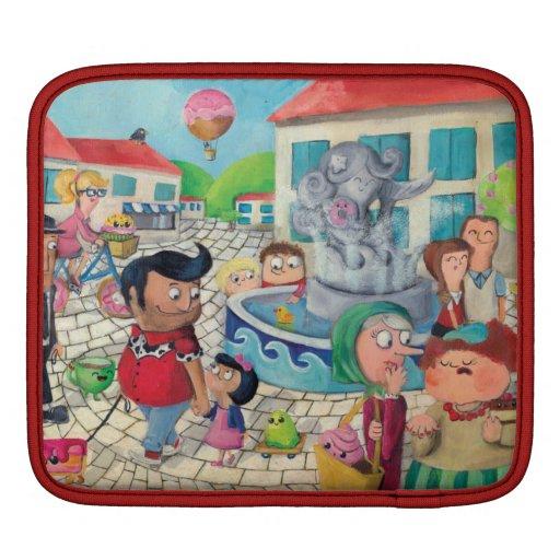 Vieja plaza por completo de dulces fundas para iPads