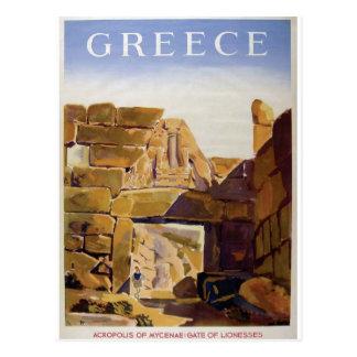 Vieja puerta de Grecia Mycenae del anuncio de Postal