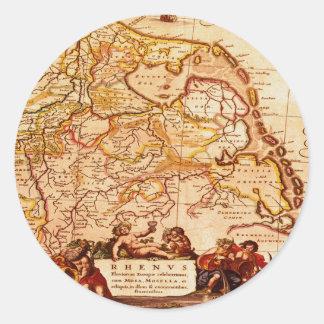 Vieja Renania serie germánica del mapa de Willem Pegatina Redonda