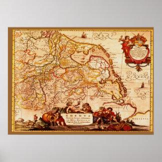 Vieja Renania serie germánica del mapa de Willem Póster