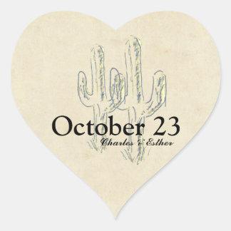 Vieja reserva del oeste del cactus la fecha pegatina en forma de corazón