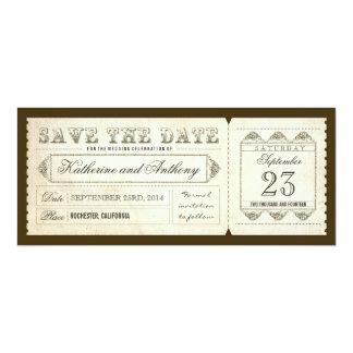 """vieja reserva del vintage el boleto de la fecha invitación 4"""" x 9.25"""""""