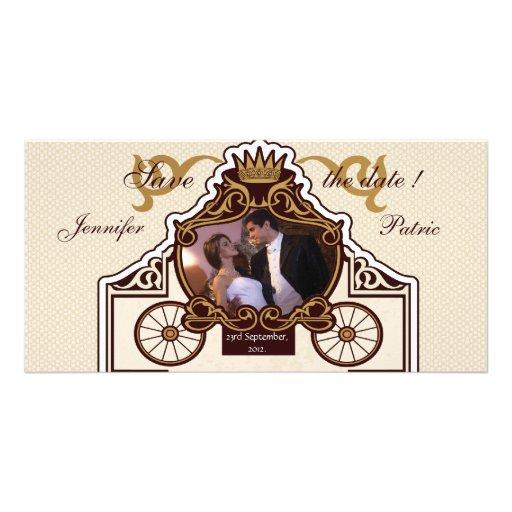 Vieja reserva retra del carro del boda la tarjeta  tarjetas con fotos personalizadas