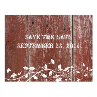 Vieja reserva roja de madera del granero la fecha postales