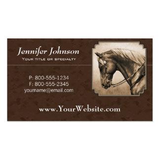 Vieja sepia cuarta del oeste Brown del caballo Tarjetas De Visita