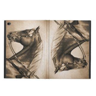 Vieja sepia de la foto del caballo occidental del
