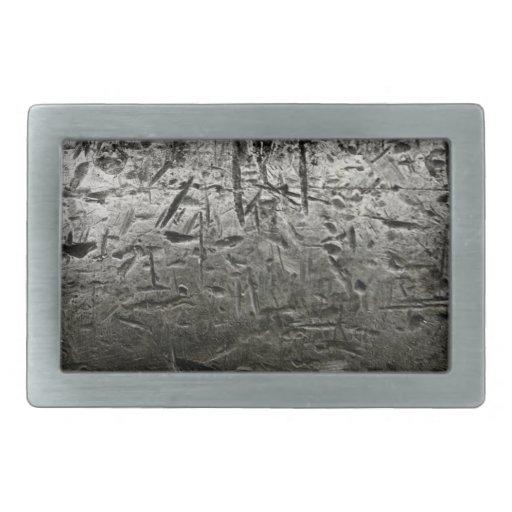 vieja superficie de metal con los rasguños grandes hebilla de cinturon rectangular