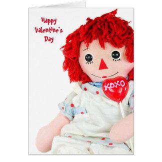 Vieja tarjeta del día de San Valentín de la muñeca