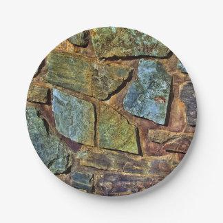 Vieja textura colorida de la pared de piedra plato de papel 17,78 cm