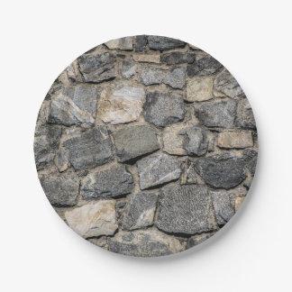 Vieja textura de la pared de piedra plato de papel 17,78 cm