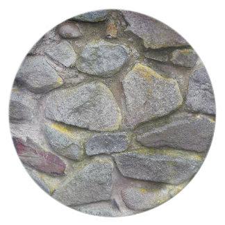 Vieja textura de la pared de piedra platos