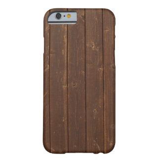 Vieja textura de madera de la pared de Brown Funda De iPhone 6 Barely There
