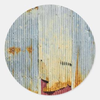 Vieja textura oxidada del metal pegatina redonda