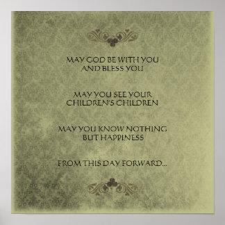 VIEJA un damasco apenado del BODA bendición IRLAND Posters