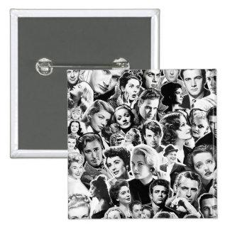 Viejas celebridades de Hollywood Pin Cuadrada 5 Cm