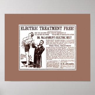 Viejas curaciones: Anuncio de la CORREA ELECTRIC d Póster