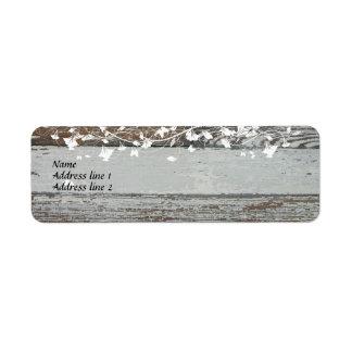 Viejas etiquetas de dirección de madera