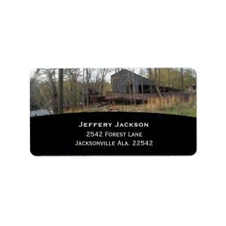 Viejas etiquetas de dirección de Watermill