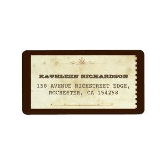 viejas etiquetas de dirección tipográficas