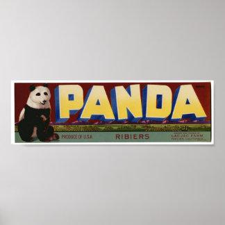Viejas etiquetas del cajón de la fruta de la panda póster