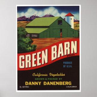 Viejas etiquetas del cajón de la fruta de las verd posters