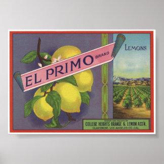 Viejas etiquetas del cajón de la fruta de los limo poster