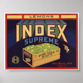 Viejas etiquetas del cajón de la fruta de los limo posters