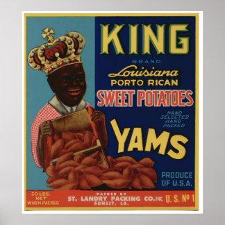 Viejas etiquetas del cajón de la fruta de los ñame posters