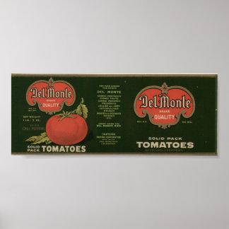 Viejas etiquetas del cajón de la fruta de los póster