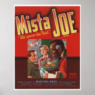 Viejas etiquetas del cajón de la fruta de Mista Jo Poster