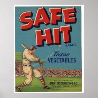 Viejas etiquetas del cajón de la fruta del béisbol póster