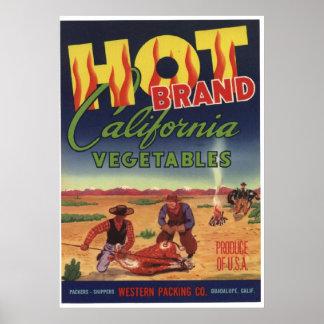 Viejas etiquetas del cajón de las verduras de Cali Posters