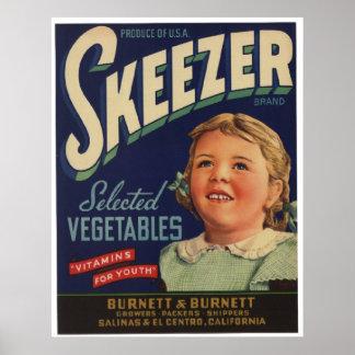 Viejas etiquetas del cajón de las verduras de Skee Poster
