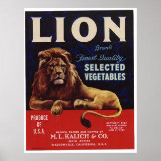 Viejas etiquetas del cajón de las verduras del leó poster