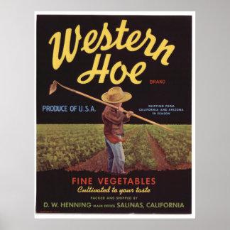 Viejas etiquetas occidentales del cajón de las ver póster