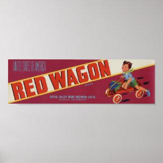 Viejas etiquetas rojas del cajón de la fruta del póster