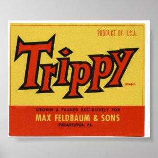 Viejas etiquetas Trippy del cajón de la fruta del  Poster