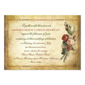 viejas invitaciones del boda de papel del vintage comunicados personales