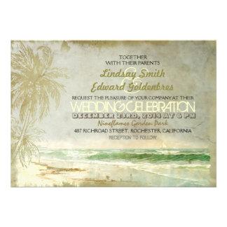 viejas invitaciones del boda de playa del vintage comunicado personal