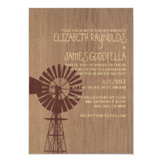 Viejas invitaciones del boda del molino de viento invitación 12,7 x 17,8 cm